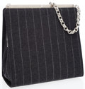Luxury Accessories:Accessories, Bottega Veneta Gray Wool Pinstripe Bag with Chain Link Handle &Frame Closure. ...