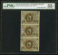 Fractional Currency:Second Issue, Fr. 1246 10¢ Second Issue Uncut Strip of Three PMG About Uncirculated 55 EPQ.. ...