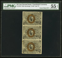 Fr. 1246 10¢ Second Issue Uncut Strip of Three PMG About Uncirculated 55 EPQ