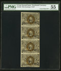 Fractional Currency:Second Issue, Fr. 1233 5¢ Second Issue Uncut Strip of Four PMG About Uncirculated 55.. ...