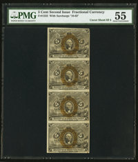 Fr. 1233 5¢ Second Issue Uncut Strip of Four PMG About Uncirculated 55