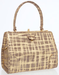 Judith Leiber Metallic Gold & Taupe Suede Structured Top Handle Bag