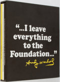 Books:Art & Architecture, [Andy Warhol] The Andy Warhol Foundation for the Visual Arts. New York: AW Foundation, 2007. Three volumes looking a...