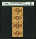 Fractional Currency:First Issue, Fr. 1230 5¢ First Issue Uncut Strip of Four PMG About Uncirculated53.. ...