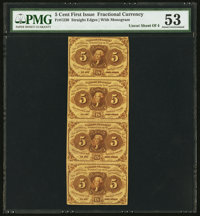 Fr. 1230 5¢ First Issue Uncut Strip of Four PMG About Uncirculated 53