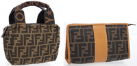 Fendi Set of Two: Brown Classic Monogram Zucca Coated Canvas Make Up Pouch & Small Tote