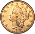 Liberty Double Eagles, 1875-CC $20 AU55 NGC. Variety 4-A....