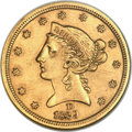 Liberty Half Eagles, 1839-D $5 -- Tooled, Polished -- ANACS. AU Details, Net XF40.Variety 2-A....