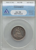 Seated Quarters: , 1843-O 25C -- Cleaned -- ANACS. AU50 Details. NGC Census: (2/23).PCGS Population (4/17). Mintage: 968,000. Numismedia Wsl....