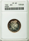Proof Barber Quarters: , 1900 25C PR62 ANACS. NGC Census: (11/193). PCGS Population (26/164). Mintage: 912. Numismedia Wsl. Price for problem free N...