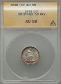 Seated Dimes, 1838 10C Small Stars, Double Die Reverse AU58 ANACS. NGC Census:(7/47). PCGS Population (14/34). Mintage: 1,992,500. Numis...