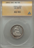 Seated Quarters: , 1842 25C Large Date AU53 ANACS. NGC Census: (1/28). PCGS Population(2/18). Mintage: 88,000. Numismedia Wsl. Price for prob...