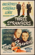 "Movie Posters:Crime, Three Strangers (Warner Brothers, 1946). Half Sheets (2) (22"" X28"") Styles A & B. Crime.. ... (Total: 2 Items)"