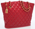 Luxury Accessories:Bags, Chanel Red Quilted Lambskin Leather Tote Bag with Gold Hardware....