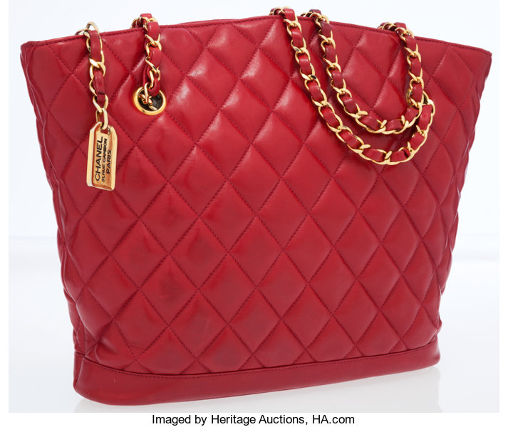 b2260dcddf Luxury Accessories:Bags, Chanel Red Quilted Lambskin Leather Tote Bag with  Gold Hardware.