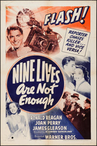 "Nine Lives Are Not Enough (Warner Brothers, 1941). One Sheet (27"" X 41""). Mystery"