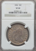 Early Half Dollars: , 1806 50C Pointed 6, Stem VF30 NGC. NGC Census: (93/1441). PCGSPopulation (133/495). Mintage: 839,576. Numismedia Wsl. Pric...