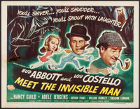 """Abbott and Costello Meet the Invisible Man (Universal International, 1951). Half Sheet (22"""" X 28"""") Style A. Co..."""