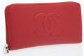Luxury Accessories:Accessories, Chanel Red Caviar Leather Zip Wallet. ...