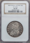 Bust Half Dollars: , 1829 50C Small Letters AU58 NGC. O-112A. NGC Census: (227/277).PCGS Population (182/237). Mintage: 3,712,156. Numismedia ...