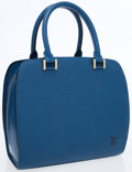 Luxury Accessories:Accessories, Louis Vuitton Blue Epi Leather Pont Neuf Bag. ...