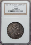 Bust Half Dollars, 1834 50C Small Date, Small Letters AU55 NGC. O-116. NGC Census:(294/1139). PCGS Population (173/388). Mintage: 6,412,004....