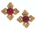 Luxury Accessories:Accessories, Chanel Gold & Red Cabochon Gripoix Earrings. ...