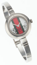 Luxury Accessories:Accessories, Gucci Stainless Steel 105 Wristwatch with Classic Web Stripe Face....
