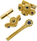 Estate Jewelry:Cufflinks, Gentleman's Sapphire, Gold Jewelry Suite, Tiffany & Co.. ...(Total: 2 Items)