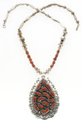 Estate Jewelry:Necklaces, Coral, Silver Necklace, Navajo. ...