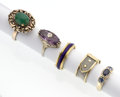 Estate Jewelry:Rings, Multi-Stone, Gold, Platinum Rings. ... (Total: 5 Items)