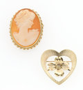 Estate Jewelry:Brooches - Pins, Shell Cameo, Gold Pendant-Brooches. ... (Total: 2 Items)