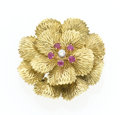 Estate Jewelry:Brooches - Pins, Ruby, Diamond, Gold Flower Brooch. ...