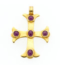 Estate Jewelry:Pendants and Lockets, Ruby, Gold Cross Pendant . ...
