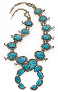 Estate Jewelry:Necklaces, Turquoise, Silver Squash Blossom Necklace, Roanhorse, NativeAmerican. ...