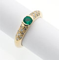 Art Glass:Daum, Emerald, Diamond, Gold Ring. ...