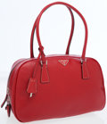 Luxury Accessories:Bags, Prada Red Saffiano Leather Classic Bowling Bag. ...