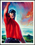 "Golf Collectibles:Art, Tiger Woods Signed ""Tiger's Roar"" Upper Deck AuthenticatedGiclee...."