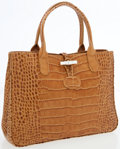 Luxury Accessories:Bags, Longchamp Tan Crocodile Pressed Leather Tote Bag. ...