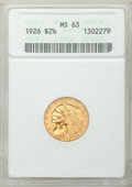 Indian Quarter Eagles: , 1926 $2 1/2 MS63 ANACS. NGC Census: (4271/4068). PCGS Population(3180/3295). Mintage: 446,000. Numismedia Wsl. Price for p...