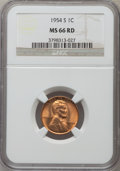 Lincoln Cents, (10)1954-S 1C MS66 Red NGC. NGC Census: (4238/677). PCGS Population(3367/197). Mintage: 96,190,000. Numismedia Wsl. Price ... (Total:10 coins)