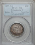Seated Quarters, 1877-S 25C Over Horizontal S MS62 PCGS. FS-501....