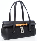 Luxury Accessories:Bags, Gucci Black Leather & Classic Monogram Canvas Shoulder Bag with Bamboo Detail. ...