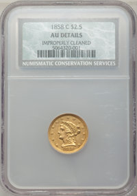 1858-C $2 1/2 -- Improperly Cleaned -- NCS. AU Details. Variety 1....(PCGS# 7787)