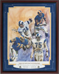 Football Collectibles:Others, The Fearsome Foursome Multi Signed Los Angeles Rams Oversized Print....