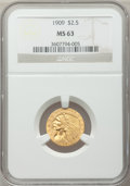 Indian Quarter Eagles, 1909 $2 1/2 MS63 NGC....