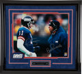 Football Collectibles:Photos, Phil Simms and Bill Parcells Multi Signed Oversized Photograph....