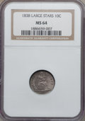Seated Dimes, 1838 10C Large Stars MS64 NGC. Fortin-113....