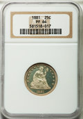 Proof Seated Quarters, 1881 25C PR64 NGC....