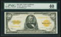 Large Size:Gold Certificates, Fr. 1200 $50 1922 Gold Certificate. PMG Extremely Fine 40.. ...